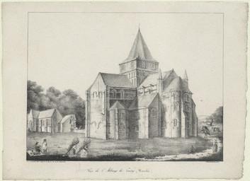 Vue de l'abbaye de Cerisy (Manche) | Engelmann, Godefroy (1788-1839)
