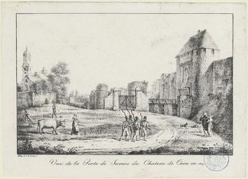 Vue de la Porte de Secours du Château de Caen en 1819 | Lasteyrie (18..?-18..? ; lithographe)