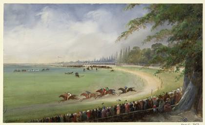 [Vue du champ de course] | Lenourrichel, Constant-Edouard (1803-1869)