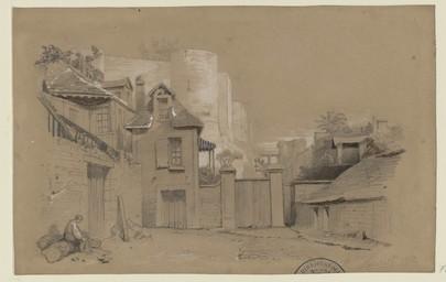 [Le château vu de la rue Graindorge] [image fixe] | Bouet, Georges Adelmard (1817-1890)