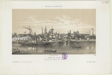 Port de Caen. Vue prise de la Pointe de l'Orne | Lebreton, Louis (1818-1866)