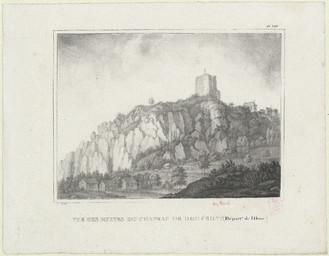 Vue des ruines du chateau de Domfront (Départ[emen]nt de l'Orne) |