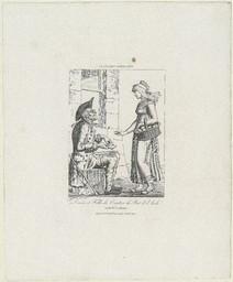 Devin et fille du Canton du Pont de l'Arche en habit ordinaire : divination par les cartes | Langlois, Eustache-Hyacinthe (1777-1837)