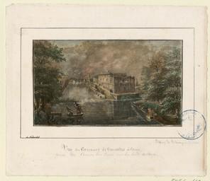 [Vue des casernes de Vaucelles à Caen, prise du cours La Reine sur les bords de l'Orne] |