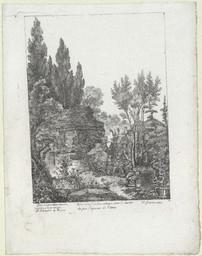 Vuë d'un tombeau antique dans le jardin des pere [sic] Capucins de Catane | Langlois, Joachim (1759-1830)