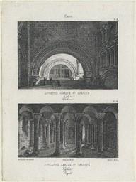 Caen, ancienne abbaye Ste Trinité : église : tribunes. crypte | Jacottet, Louis-Julien (1806-1880)