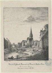Vue de l'église St-Pierre et de la tour St-Malo à Caen : prise du côté de la poissonnerie |