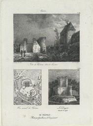 Le Château bâti par Guillaume le Conquérant : Porte du château dite porte de secours. Plan général du château. Le donjon, démoli en 1793 | Jolimont, Théodore de (1787-1854)