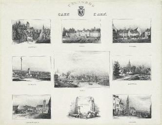 Calvados, Caen 1er arrondissement : Caen [panorama du port] : Creully [le château] : Tilly [le château] : Villers [le bourg] : Évrecy [le calvaire et l'église] : Douvres [vue générale] : Bourguébus [le calvaire et l'église] : Troarn [l'église] | Levavasseur, Pierre Désiré (1810-1872)
