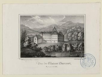 Vue du château d'Harcourt, prise du côté de la colline |