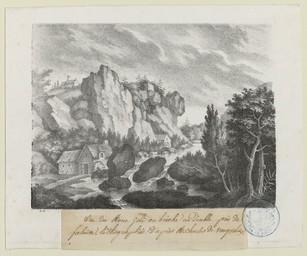 Vue du Mont Joli ou brèche au Diable : près de falaise, lithographié d'après M. Charles de Vauquelin | Engelmann, Godefroy (1788-1839)