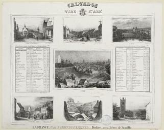 Calvados, Vire 6e arrondissement : Condé-sur-Noireau : Vassy : St Sever : Tableau des Communes avec la population et la distance de chacune d'elles, avec le chef-lieu de canton, avec le chef-lieu de l'arrondissement : Vire : Tableau des communes avec la population et la distance de chacune d'elles, avec le chef de canton, avec le chef-lieu de l'arrondissement : Aunay-sur-Odon : Industries : Beny-bocage | Levavasseur, Pierre Désiré (1810-1872)