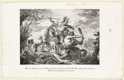 Renaud de Montauban, monté sur Rabican, combat et tue le Centaure qui enlevait la belle Fleur de lys, maîtresse de Brandimard, laquelle se sauva à la nage : (Tiré de Roland l'amoureux, Livre 3, Chap.?) |