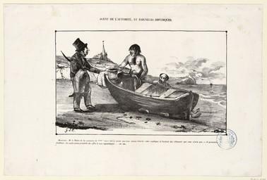 Agent de l'autorité, et baigneurs impudiques. [Dessin satirique] | Le Couteulx, Gustave (18..-18..)
