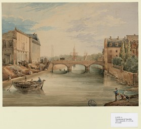 [Vue du pont de Vaucelles à Caen] | Lasne, Adolphe (18..-18..)