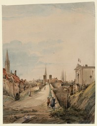 [Vue de l'entrée du château de Caen où l'on voit les clochers de St-Pierre, St-Sauveur et de St-Etienne] | Lasne, Adolphe (18..-18..)