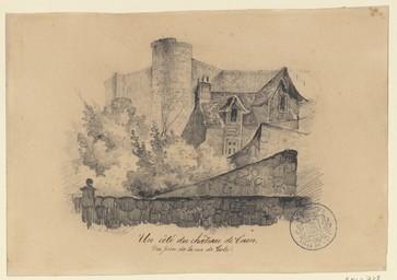 Un côté du château de Caen. Vue prise de la rue de Geole | Lenourrichel, Constant-Edouard (1803-1869)
