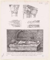 Tombeau, sculpture, chapiteaux de Notre-Dame-sur-l'eau à Domfront et de l'abbaye de Lonlay | Dulomboy (18..-18.. ; lithographe)