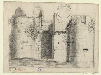 [Un coin des fortifications du château] | Gilet, Jean François Etienne (1769-....)