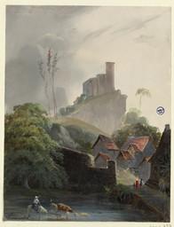 [Vue du château de Falaise prise de la rivière] | Lenourrichel, Constant-Edouard (1803-1869)