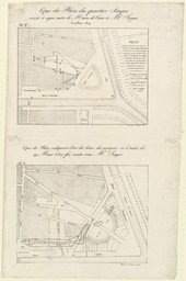 Copie du plan du quartier Singer : arrêté et signé entre le Maire de Caen et Mr Singer, le 19 mars 1829. Copie du plan indiquat l'état des lieux du moment où le traité du 19 mars 1829 fut arrêté avec Mr Singer | Hardel, Aimable-Augustin (1802-1864)