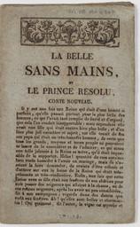 La Belle sans mains, et le Prince Résolu, conte nouveau |