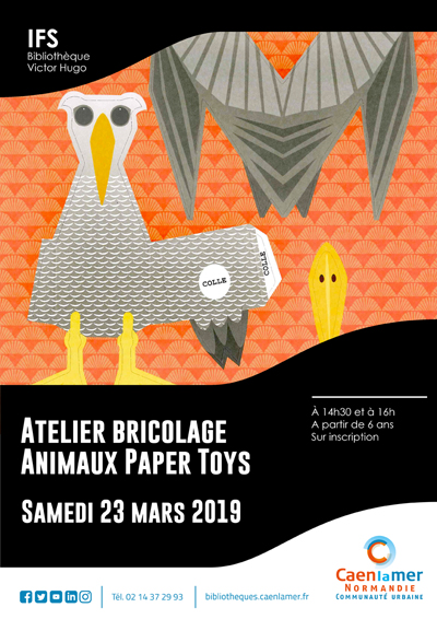 Ateliers bricolage : animaux paper toys |